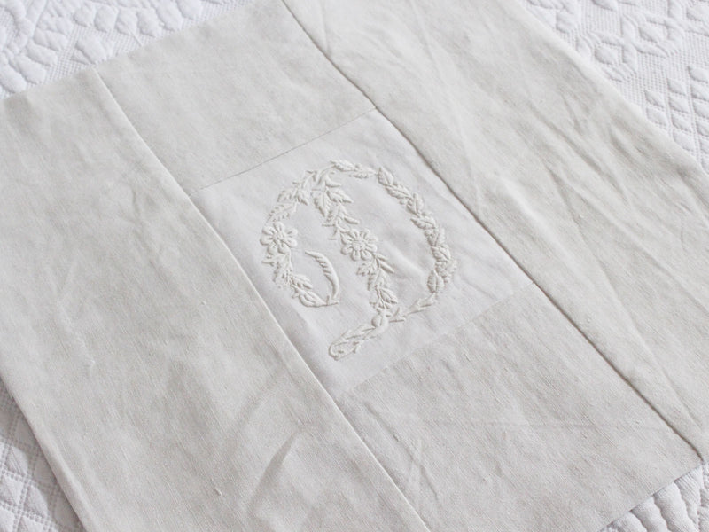 30cm Square Monogrammed Cushion - Antique French White on White Embroidered 'D' on Linen P322
