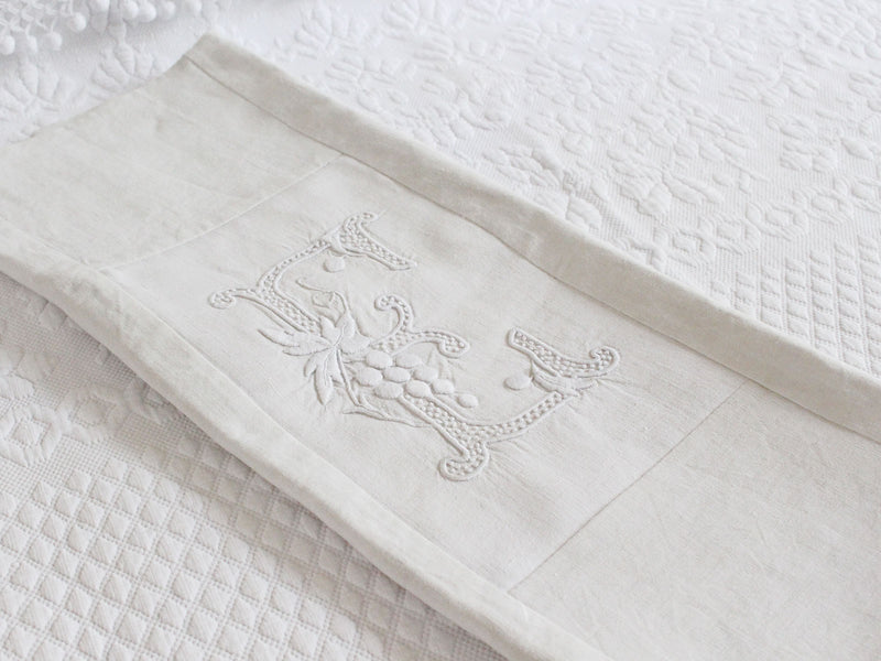 50cm Square Monogrammed Cushion - Antique French White on White Embroidered 'E' on Linen P324