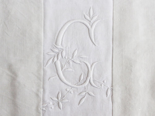 40cm Square Monogrammed Cushion - Antique French White on White Embroidered 'G' on Linen P323