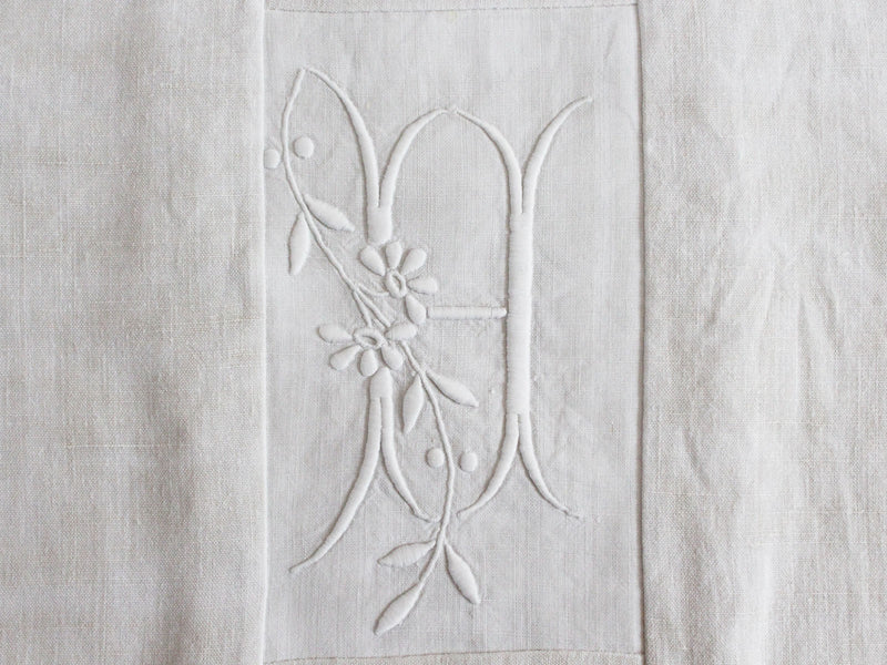 40cm Square Monogrammed Cushion - Antique French White on White Embroidered 'H' on Linen P325