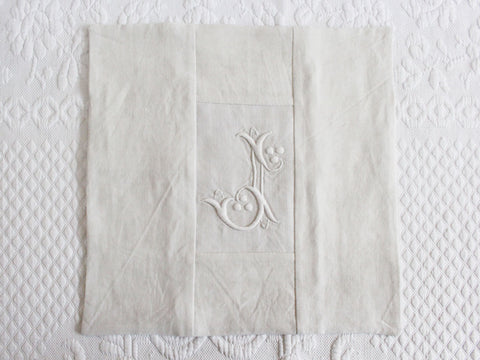 30cm Square Monogrammed Cushion - Antique French White on White Embroidered 'J' on Linen P326