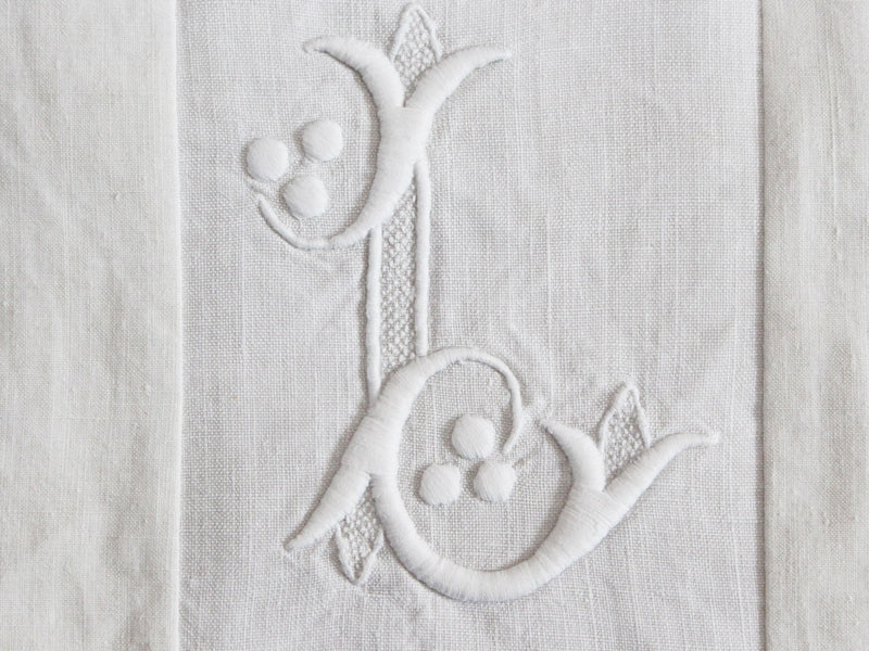 30cm Square Monogrammed Cushion - Antique French White on White Embroidered 'L' on Linen P331