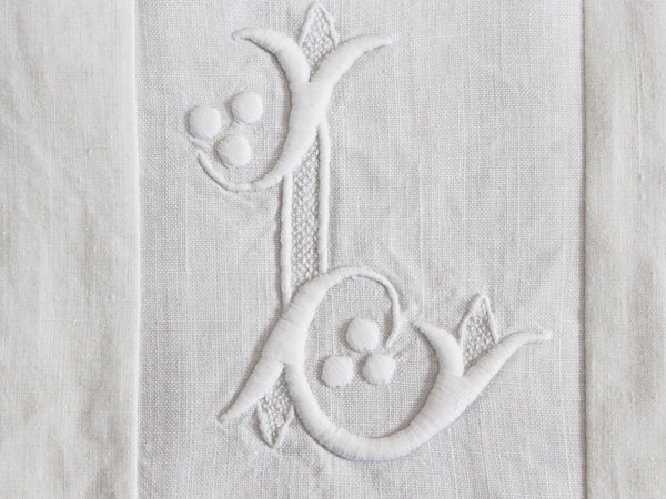 30cm Square Monogrammed Cushion - Antique French White on White Embroidered