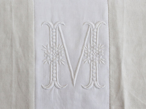30cm Square Monogrammed Cushion - Antique French White on White Embroidered 'M' on Linen P329