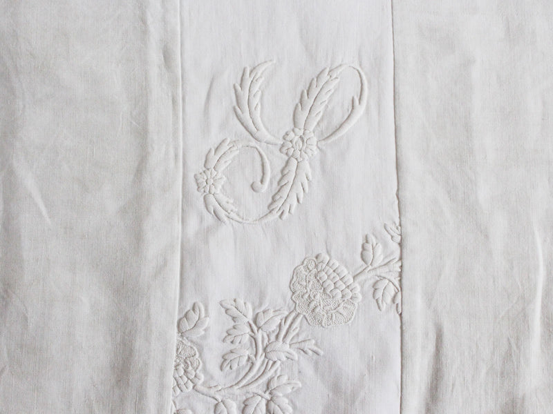 Small Bolster Monogrammed - Antique French White on White embroidered 'S' Cushion P316