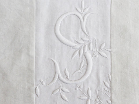 50cm Square Cushion - Antique French White on White Embroidery on Linen P360