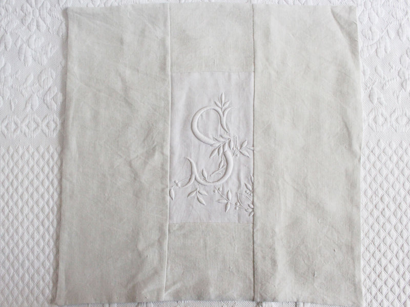 40cm Square Monogrammed Cushion - Antique French White on White Embroidered 'S' on Linen P328