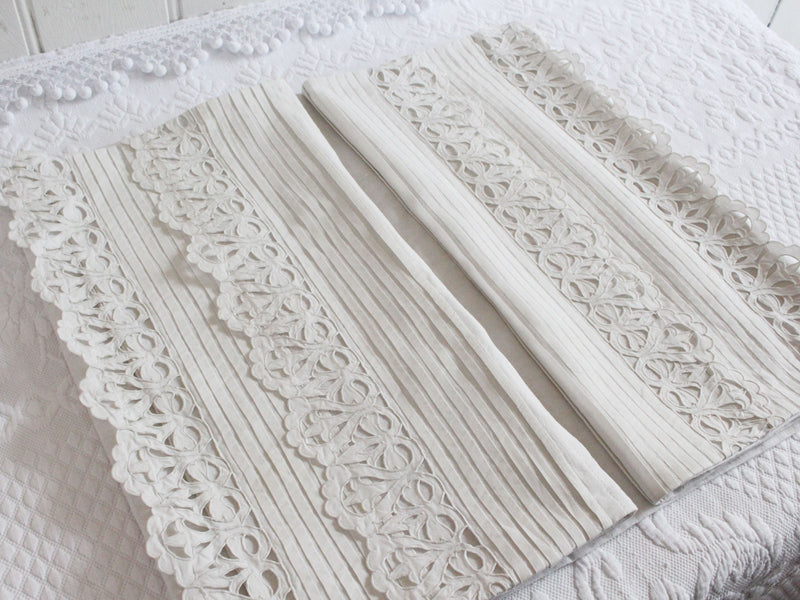Bolsters - Antique French White on White Scalloping on Linen Bolster P312