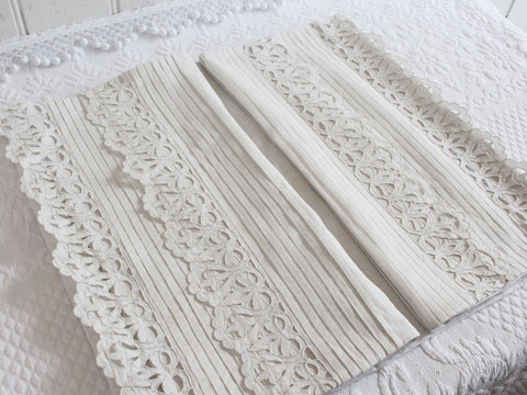 Medium Bolster - Antique French Ivory Lace on Linen Cushion by Charlotte Casadejus