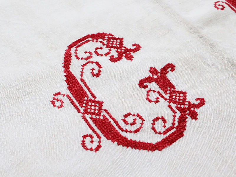 G Small Bolster - Antique French Red 'G' Monogram PR126