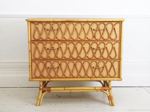 Riviera Style 1960's Rattan Chest of Drawers