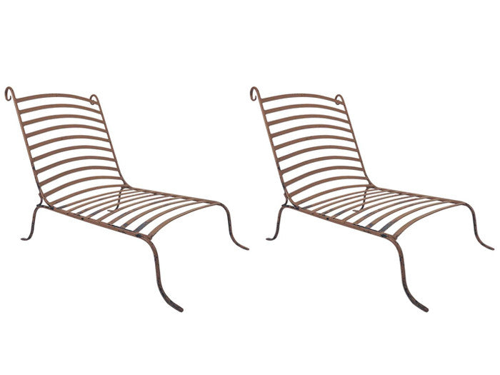 Two pairs of chic mid century low wrought iron lounge chairs