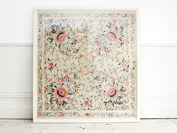 Large Antique Chinese Ivory Floral Hand Embroidered Silk Framed Panel