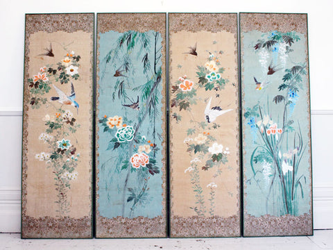 A Beautiful Four Piece Set of Hand painted & Embroidered Panels