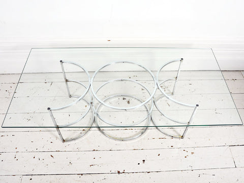 A 1960's French Coffee Table with Chrome Circle Base & Glass Top