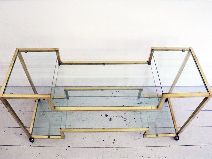 An elegant Italian brass and glass 1970's console table