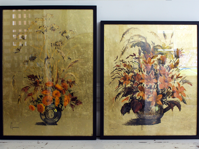 Wonderful Still Life on Gold Leaf Painting in Black Frame 1 of 2