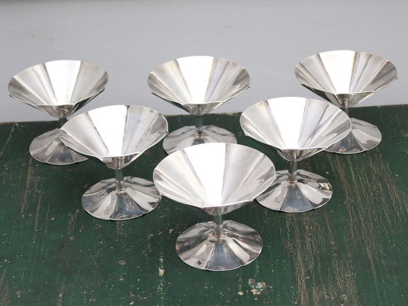 A Set of 6 Deco French Silver Plated Champagne Coupes