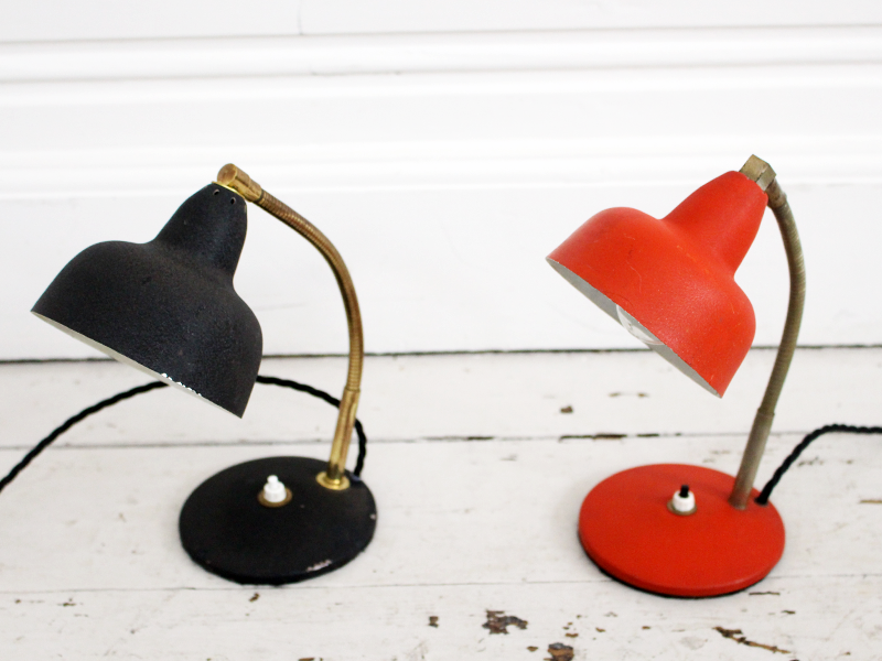 A French 1950's red metal & brass desklamp