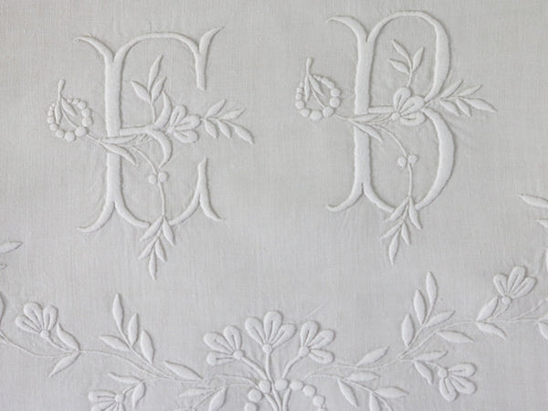 Antique French monogrammed linen large double sheet