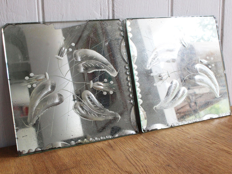 A Pair of 1950's Pretty Etched Mirrored Glass Tiles