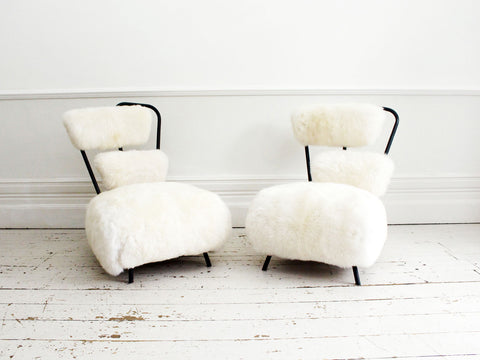 A Pair of Unique Design 1950's French Sheepskin Lounge Chairs