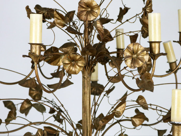 1940's French gold trailing flower and leaf ornate metalwork chandelier