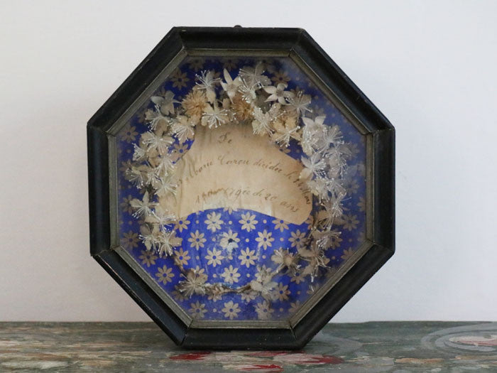 A beautiful antique French relic in octagonal frame