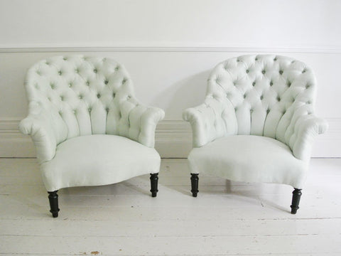 A Pair of Large French Napoleon III Buttonback Armchairs