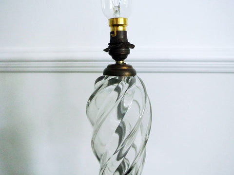 Lovely 1950's French Twisted Glass Table Lamp