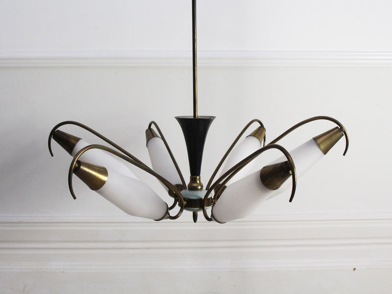 A Mid Century Italian Brass Pendant Light with Original Glass Shades