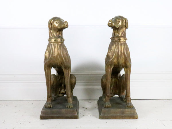Large Bronze Pair of Italian Terracotta Hunting Dogs