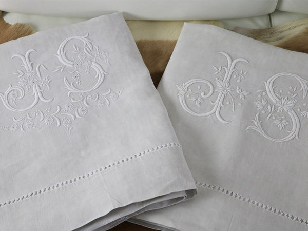 Antique French double linen sheet with monogram