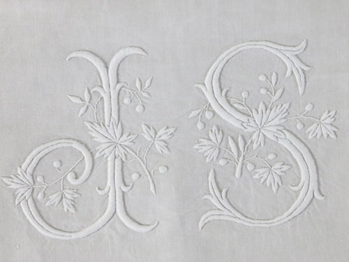 Pair of Antique French double linen sheets with monogram 'JS'