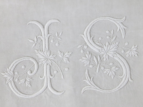 Antique French double linen sheet with monogram 'JS'