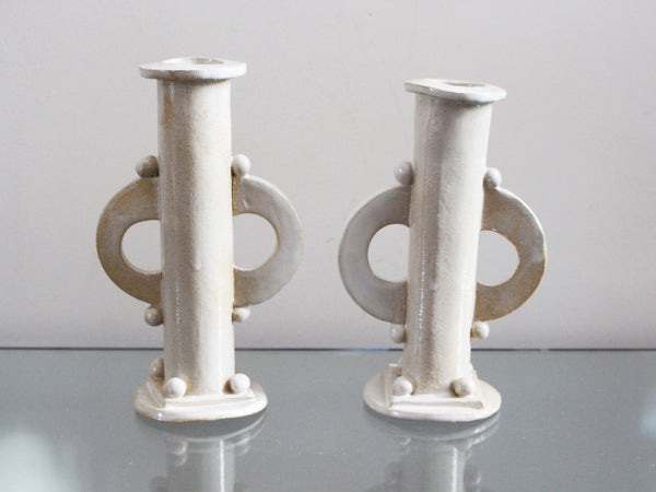 Kate Monckton Ball Ceramics - Pair of Geometric Ball Candlesticks