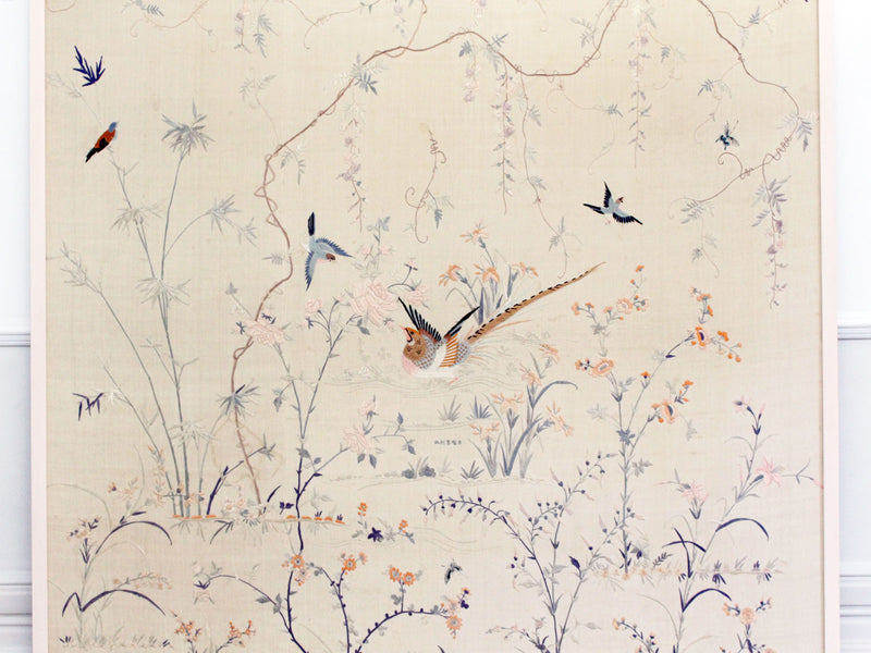 Exquisite Antique Chinese Hand Embroidered Silk Framed Panel