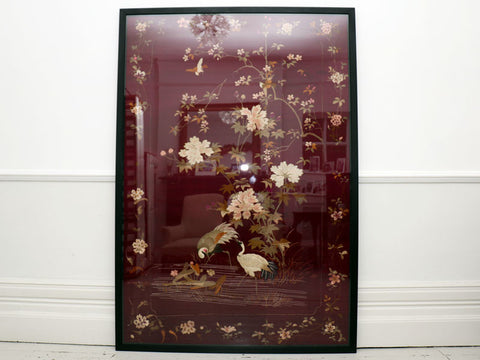 An Impressive Antique Chinese Embroidered Dark Red Silk Panel in Black Frame