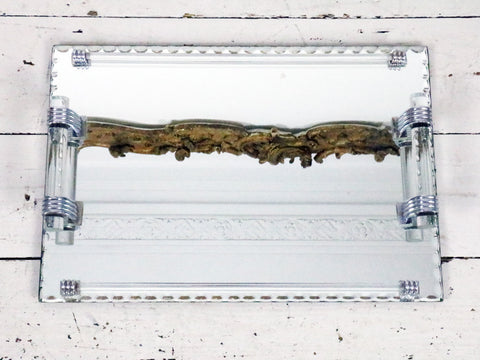 A large 1940s French Mirrored Tray with Glass Handles