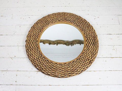 A Fabulous 1960's Large Round Rattan Mirror