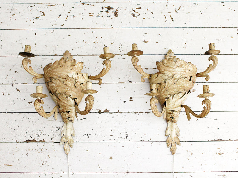 A Pair of 1920's Painted Tole Maison Baguès Wall Lights