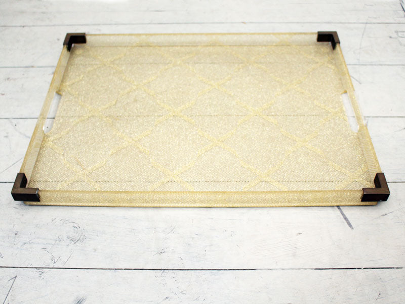Large 1970s Lucite and Brass Tray with Embedded Gold Detail