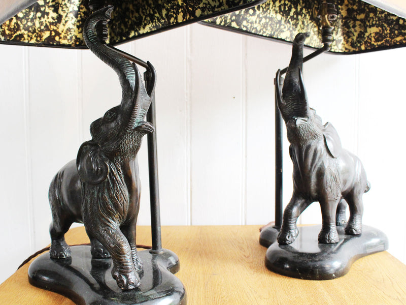 A Pair of Elephant Bronze Lamps by Maitland Smith
