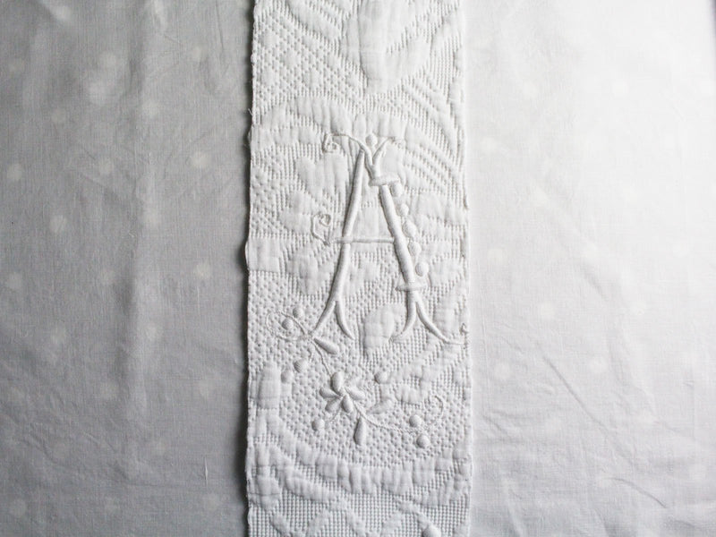A 50cm Medium Bolster Cushion - Antique French A Monogram on Linen PMB28