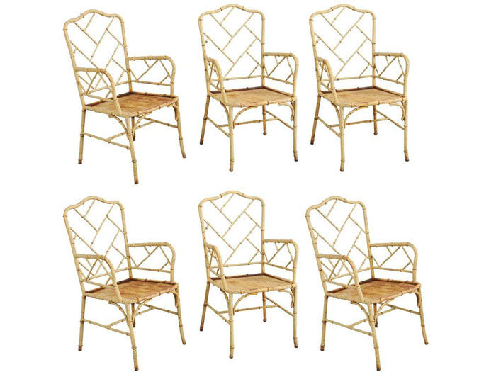 19th century rare set of 6 large cast iron simulated bamboo Chinese Chippendale armchairs