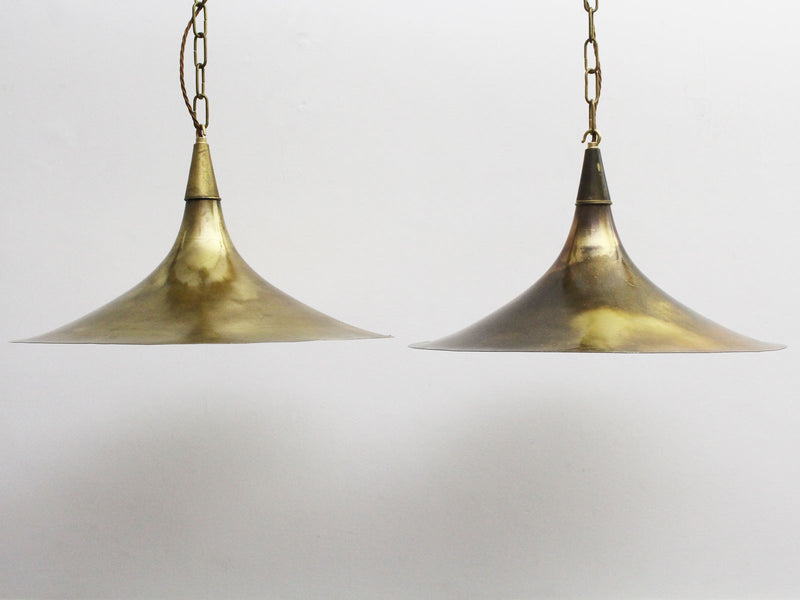 A Pair of Early Albini Brass Trumpet Shaped Pendant Lights