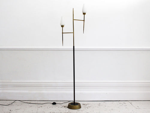 A 1950's French Arlus Brass Standing Lamp with Opaque Glass shades