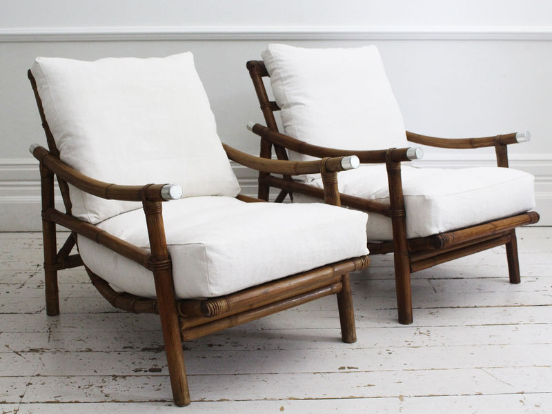 A Rare Pair of Mid Century Campaign Chairs by John Wisner for Ficks & Reed