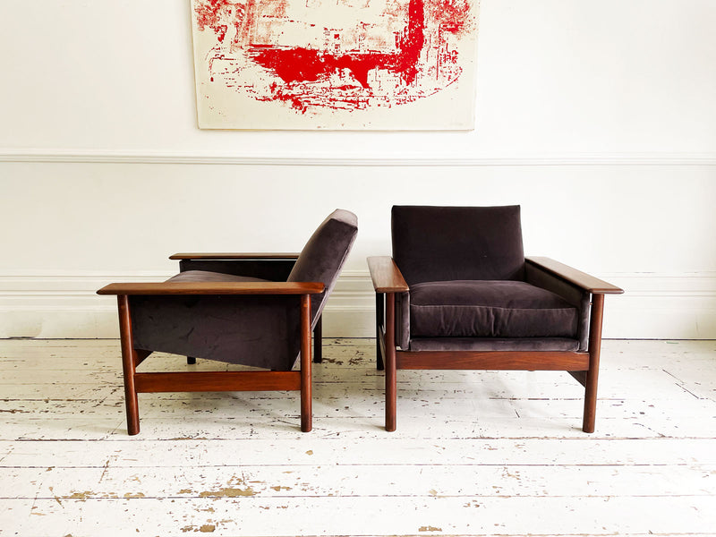 A Pair of Teak 1960's Danish Armchairs In the Style of Hans Wenger