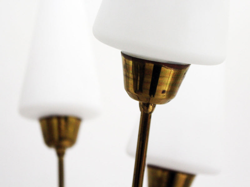 A 1950's French Five Arm Brass Standing Lamp with Opaque Glass shades